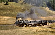 Steam Train Prints Art - Los Pinos Cattle Train by Ken Smith