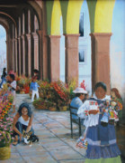 Mexico People Paintings - Los Portales by Neal Smith-Willow