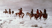 Old West Framed Prints - Lost in a Snow Storm - We Are Friends Framed Print by Charles Marion Russell