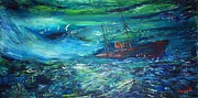 Liner Painting Originals - Lost In Bermuda by Mary Sedici