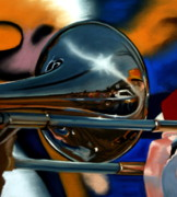 Trombone Painting Originals - Lost in the Music by Melodie Douglas