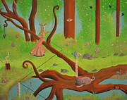 Pop Surrealism Paintings - Lost in the Woods by Dave Gold