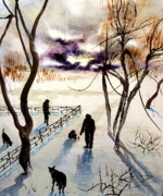 Winterscape Painting Originals - Lost in this World by Julia Scorupsky