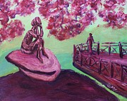 Lost In Thought Painting Posters - Lost in Thought Green Pink Magenta Purple with cherry blossom tree bridge Mountain Rock after Hiking Poster by MendyZ M Zimmerman