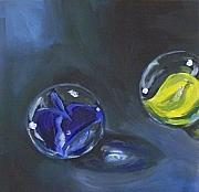 Kristine Kainer Paintings - Lost Marbles No. 1 by Kristine Kainer