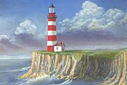 Lighthouse Painting Originals - Lost Point Light by Jerry McElroy