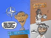 Obama Mixed Media - LOTAN est daccord avec les talibans caricature by OptionsClick BlogArt