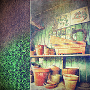 Shed Prints - Lots of different size pots in the shed Print by Sandra Cunningham