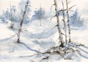 Winter Trees Art - Lots of Snow For Dustie by Sam Sidders