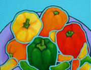 Warm Colors Paintings - Lotsa Peppas by Lorraine Klotz