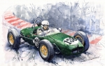 Old Painting Posters - Lotus 18 F2 Poster by Yuriy  Shevchuk