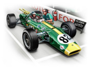 David Kyte Prints - Lotus 38 Indy 500 Winner 1965 Print by David Kyte