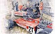Watercolor Framed Prints - Lotus 49 B Lotus 72  Framed Print by Yuriy  Shevchuk