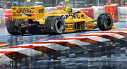 Racing Car Framed Prints - Lotus 99T 1987 Ayrton Senna Framed Print by Yuriy  Shevchuk