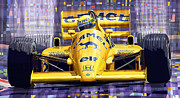 1987 Metal Prints - Lotus 99T SPA 1987 Ayrton Senna Metal Print by Yuriy  Shevchuk
