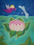 Flower Child Pastels - Lotus and Dragonfly by Christine Crosby
