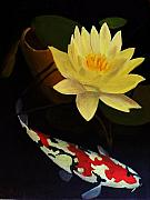 Lilly Pond Painting Framed Prints - Lotus and Koi- Plant and Animal Painting Framed Print by Glenn Ledford