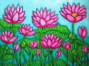 Pods Painting Framed Prints - Lotus Bliss II Framed Print by Lisa  Lorenz