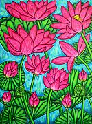 Pods Painting Framed Prints - Lotus Bliss Framed Print by Lisa  Lorenz
