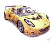 Coupe Drawings Originals - Lotus Exige GT3 by Dan Poll