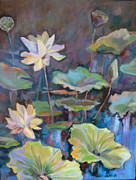 Lotus Pond Paintings - Lotus Flower by Marty Husted
