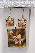 Floral Jewelry Metal Prints - Lotus flower pendant and earring set Metal Print by Darleen Stry