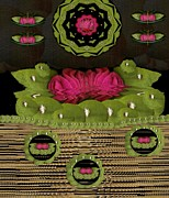 Freedom Mixed Media - Lotus Flowers In The Lotus Sea by Pepita Selles