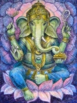 Elephant Art Framed Prints - Lotus Ganesha Framed Print by Sue Halstenberg