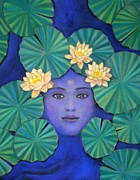 Pad Framed Prints - Lotus Goddess Framed Print by Sue Halstenberg