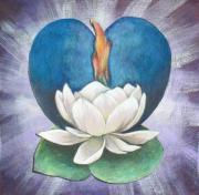 Buddhist Art Mixed Media Posters - Lotus Heart Light Poster by Jo Thompson