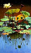 Pond In Park Painting Prints - Lotus In July Print by John Lautermilch