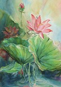 Lotus Leaves Paintings - Lotus of Hamakua by Wendy Wiese