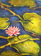 Lotus Leaves Paintings - Lotus Pond by Raji Chacko