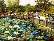 Lotus Pond Paintings - Lotus Pond  Shiba Tokyo by Pg Reproductions