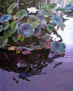 Lotus Pond Paintings - Lotus Reflections by John Lautermilch