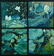Lotus Bud Paintings - Lotus Studies by Aline Lotter