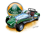 Sports Digital Art Metal Prints - Lotus Super 7  Metal Print by David Kyte