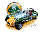 Cars Digital Art Posters - Lotus Super Seven sports car Poster by David Kyte