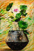 Paint Art - Lotus Tree In Big Jar by Atiketta Sangasaeng