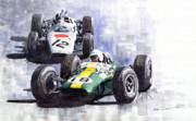Watercolour Prints - Lotus vs Honda Mexican GP 1965 Print by Yuriy  Shevchuk
