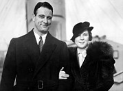 Yankees Portraits Prints - Lou Gehrig And Bride Eleanor Arrive Print by Everett