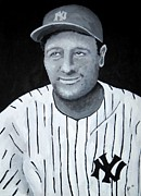 Major League Baseball Paintings - Lou Gehrig by Edwin Alverio