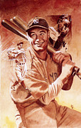 Baseball Paintings - Lou Gehrig by Ken Meyer jr