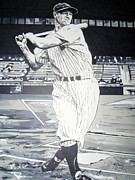 Mlb Drawings - Lou Gehrig by Neal Portnoy