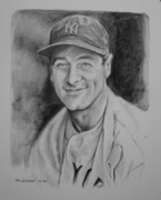 Mlb Baseball Art Drawings Originals - Lou Gehrig by Paul Autodore