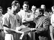 Gehrig Prints - Lou Gehrig Presented With A Scroll Print by Everett