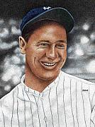 New York Yankees Drawings - Lou Gehrig by Rob Payne