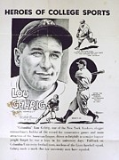 Baseball Drawings - Lou Gehrig by Steve Bishop