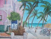 Key West Paintings - Louies Backyard by Linda Cabrera