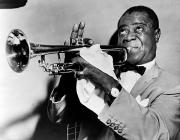 Playing Photo Framed Prints - Louis Armstrong 1900-1971 Framed Print by Granger